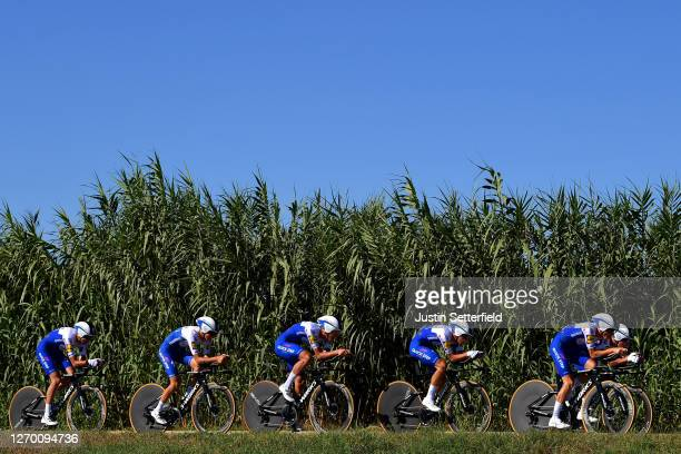Joao Almeida of Portugal, Andrea Bagioli of Italy, James Knox of The United Kingdom, Mikkel Honore of Denmark, Pieter Serry of Belgium, Mauri...