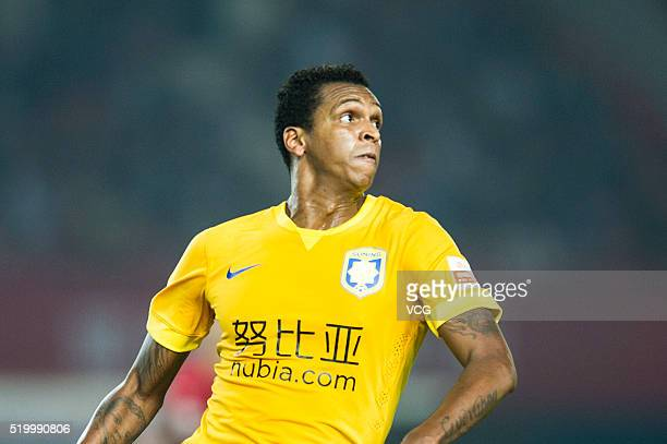 Joao Alves of Jiangsu Suning in action during the Chinese Football Association Super League match between Henan Jianye and Jiangsu Suning at...