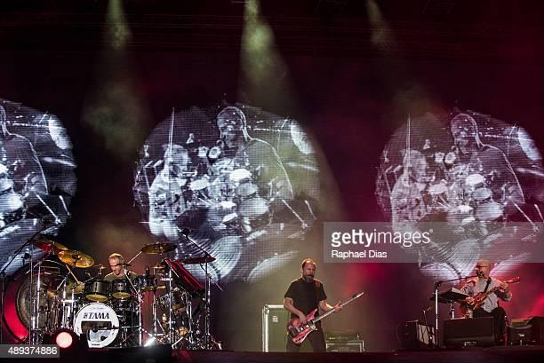 Joao Barone, Bi Ribeiro and Hebert Vianna from Os Paralamas do Sucesso perform at 2015 Rock in Rio on September 20, 2015 in Rio de Janeiro, Brazil.
