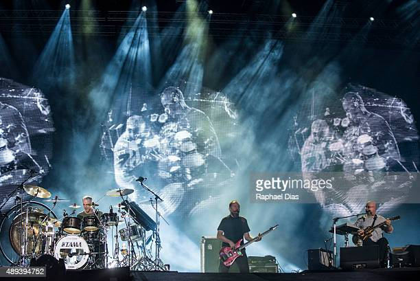 Joao Barone Bi Ribeiro and Hebert Vianna from Os Paralamas do Sucesso performs at 2015 Rock in Rio on September 20 2015 in Rio de Janeiro Brazil