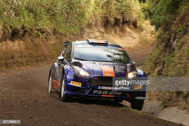 Joao Barros and Jorge Henriques in Ford Fiesta R5 of PampB Racing during the shakedow of the FIA ERC Azores Airlines Rallye 2016 in Ponta Delgada...