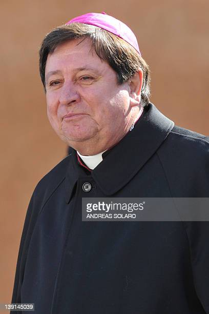 Joao Braz de Aviz who will be named cardinal the day after leaves after a meeting with Pope Benedict XVI and other cardinals on February 17 2012 at...