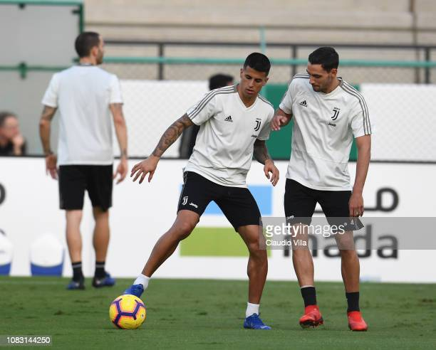 Joao Cancelo and Mattia De Sciglio of Juventus in action during a training session on January 15 2019 in Jeddah Saudi Arabia