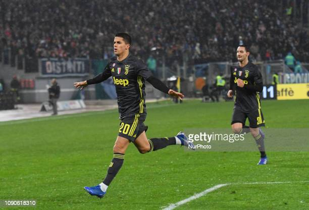 Joao Cancelo celebrates after scoring goal 11 during the Italian Serie A football match between SS Lazio and FC Juventus at the Olympic Stadium in...
