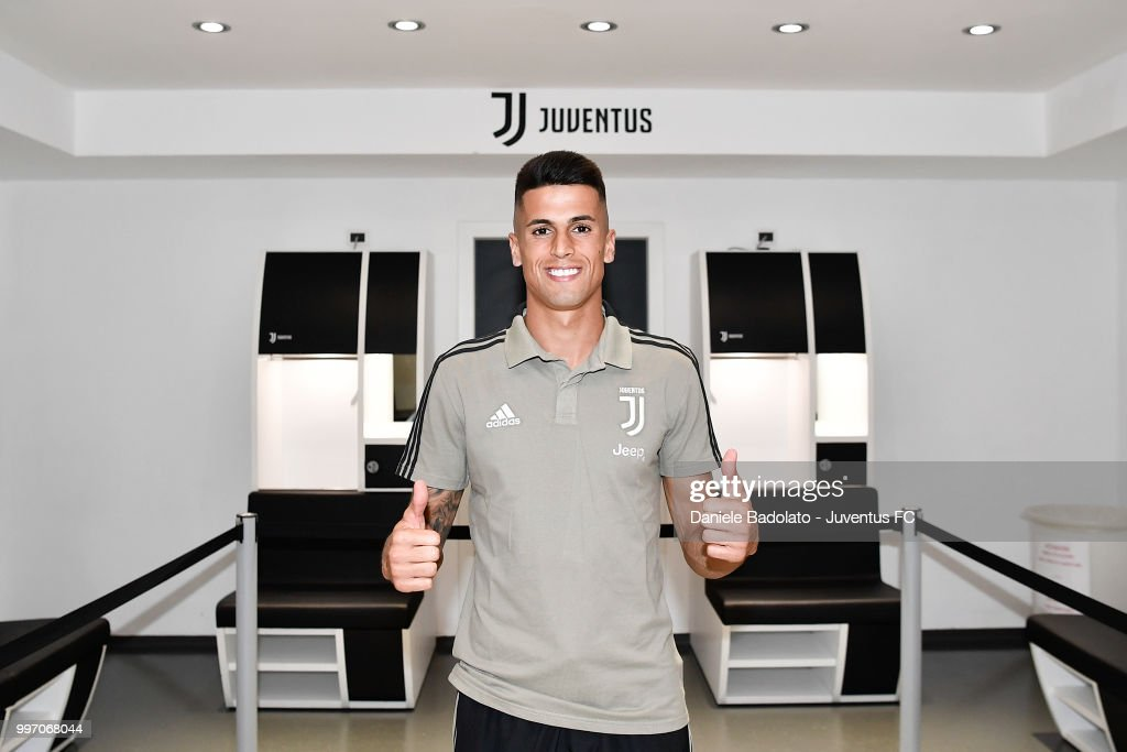 Joao Cancelo during a Juventus Press Conference at Juventus Allianz Stadium on July 12, 2018 in Turin, Italy.