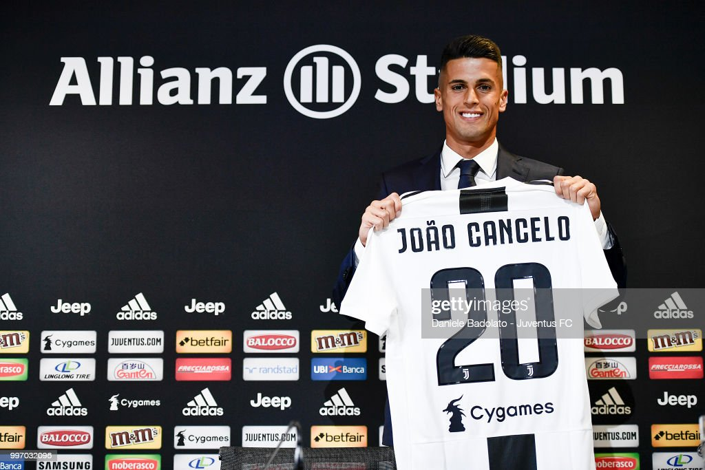 Joao Cancelo during a Juventus Press Conference at Juventus Training Center on July 12, 2018 in Turin, Italy.