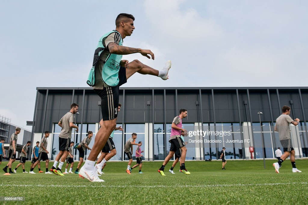 Joao Cancelo during a Juventus training session at Juventus Training Center on July 12, 2018 in Turin, Italy.