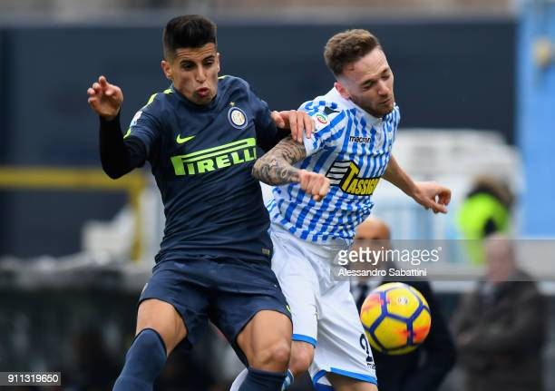 Joao Cancelo of FC Internazionale competes for the ball whit Manuel Lazzari of Spal during the serie A match between Spal and FC Internazionale at...