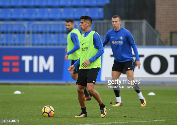 Joao Cancelo of FC Internazionale in action during the FC Internazionale training session at Suning Training Center at Appiano Gentile on October 28...