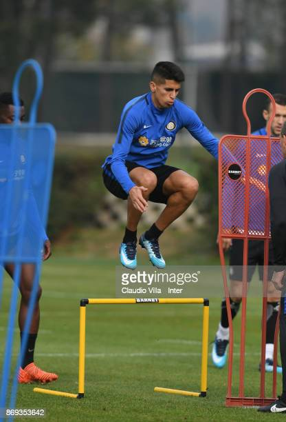 Joao Cancelo of FC Internazionale in action during the FC Internazionale training session at Suning Training Center at Appiano Gentile on November 02...