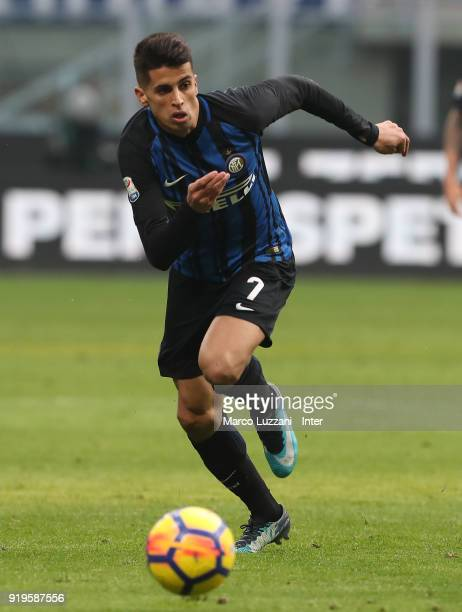 Joao Cancelo of FC Internazionale in action during the serie A match between FC Internazionale and Bologna FC at Stadio Giuseppe Meazza on February...