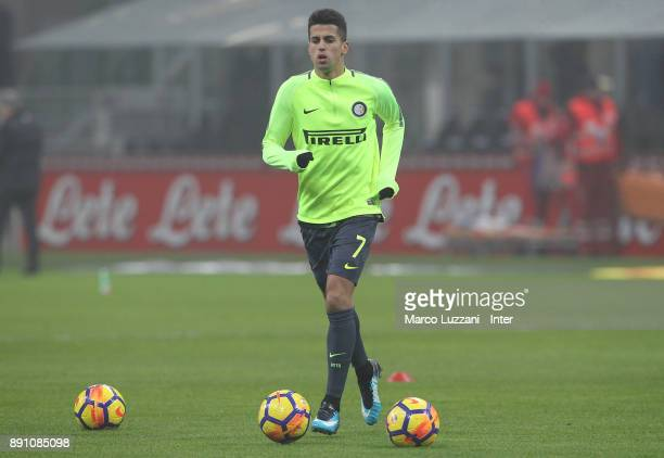 Joao Cancelo of FC Internazionale warms up ahead of the TIM Cup match between FC Internazionale and Pordenone at Stadio Giuseppe Meazza on December...