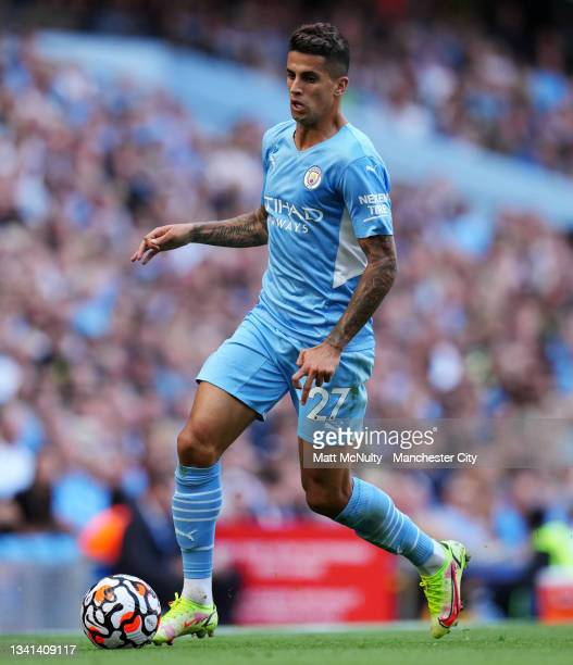 Joao Cancelo of Manchester City during the Premier League match between Manchester City and Southampton at Etihad Stadium on September 18, 2021 in...