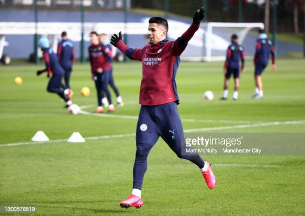 Joao Cancelo of Manchester City in action during a training session at Manchester City Football Academy on February 05, 2021 in Manchester, England.