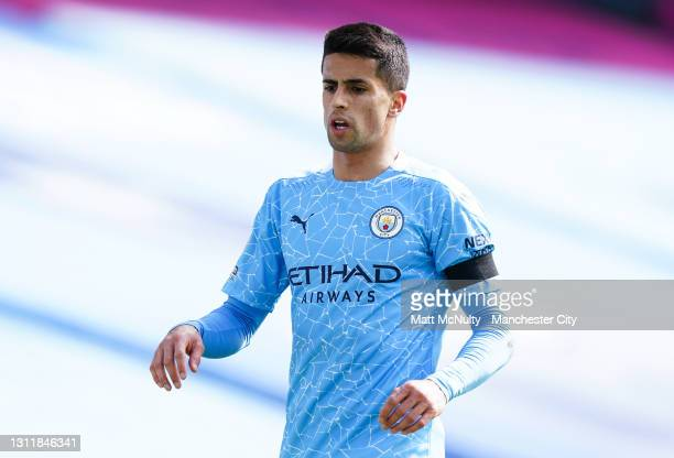 Joao Cancelo of Manchester City in action during the Premier League match between Manchester City and Leeds United at Etihad Stadium on April 10,...