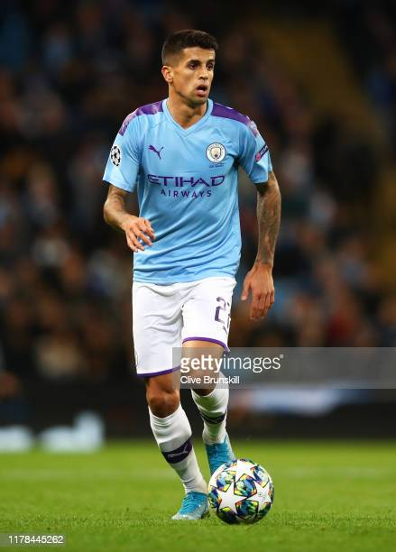 Joao Cancelo of Manchester City in runs with the ball during the UEFA Champions League group C match between Manchester City and Dinamo Zagreb at...