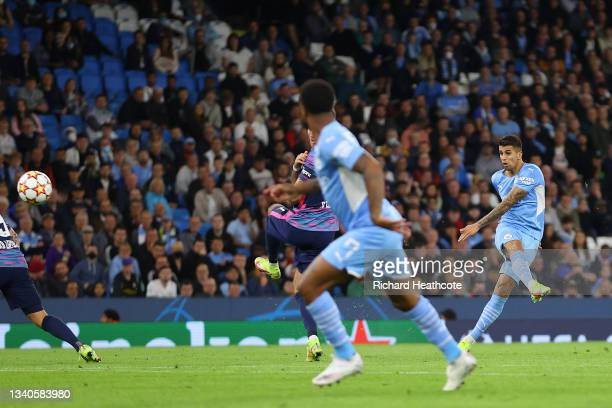 Joao Cancelo of Manchester City scores their side's fifth goal during the UEFA Champions League group A match between Manchester City and RB Leipzig...