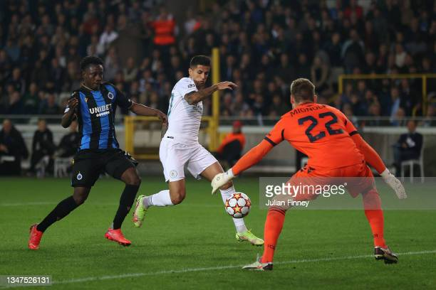 Joao Cancelo of Manchester City scores their side's first goal past Simon Mignolet of Club Brugge during the UEFA Champions League group A match...