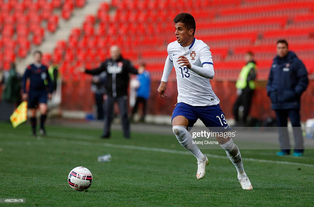 Joao Cancelo of Portugal in action during the international friendly match between U21 Czech Republic and U21 Portugal at Eden Stadium on March 31, 2015 in Prague, Czech Republic.