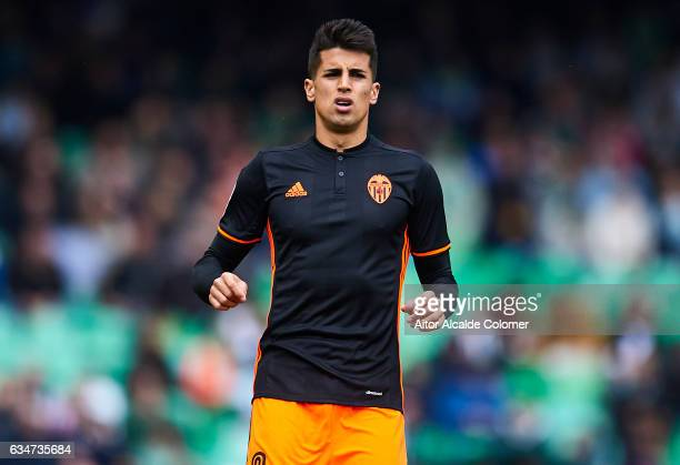 Joao Cancelo of Valencia CF looks on during La Liga match between Real Betis Balompie and Valencia CF at Benito Villamarin Stadium on February 11...