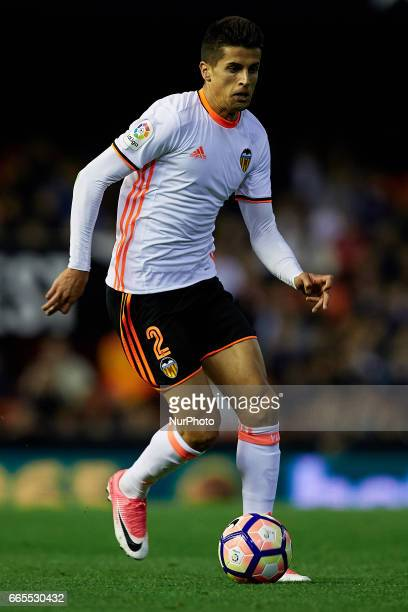 Joao Cancelo of Valencia CF with the ball during the La Liga match between Valencia CF and Real Club Celta de Vigo at Mestalla Stadium on April 6...