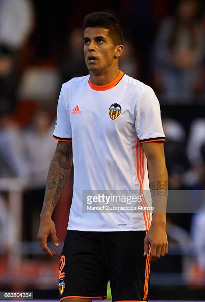 Joao Cancelo of Valencia looks on during the La Liga match between Valencia CF and Deportivo de La Coruna at Mestalla Stadium on April 2 2017 in...