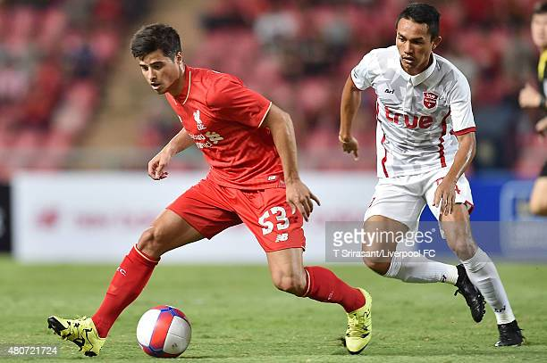 Joao Carlos Teixeira of Liverpool holds the ball during the international friendly match between Thai Premier League All Stars and Liverpool FC at...