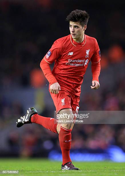 Joao Carlos Teixeira of Liverpool in action during the Emirates FA Cup Third Round Replay match between Liverpool and Exeter City at Anfield on...