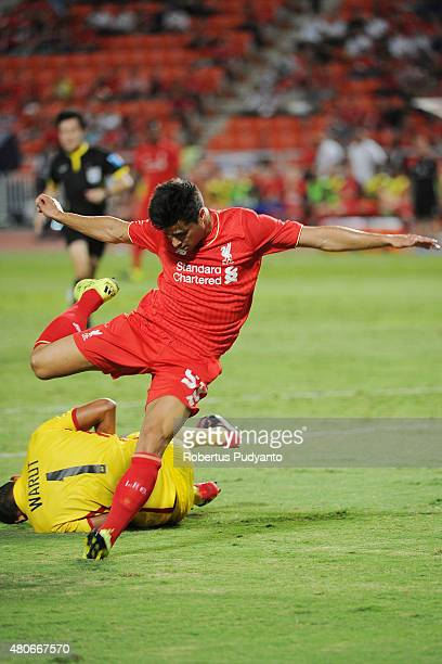 Joao Carlos Teixeira of Liverpool in action during the international friendly match between Thai Premier League All Stars and Liverpool FC at...