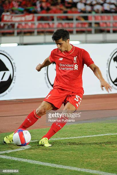 Joao Carlos Teixeira of Liverpool kicks the ball during the international friendly match between Thai Premier League All Stars and Liverpool FC at...