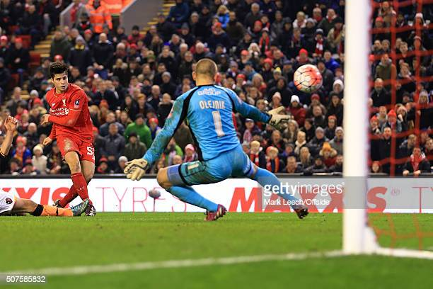Joao Carlos Teixeira of Liverpool scores their 3rd goal during the Emirates FA Cup Third Round Replay match between Liverpool and Exeter City at...