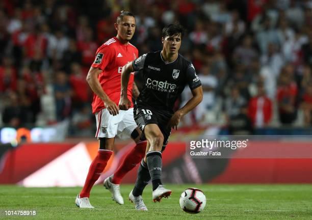 Joao Carlos Teixeira of Vitoria SC in action during the Liga NOS match between SL Benfica and Vitoria SC at Estadio da Luz on August 10 2018 in...