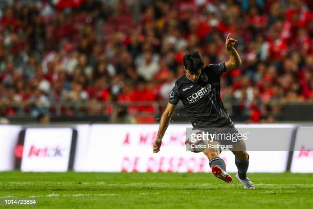 Joao Carlos Teixeira of Vitoria SC kicks the ball during the Liga NOS match between SL Benfica and Vitoria SC at Estadio da Luz on August 10 2018 in...