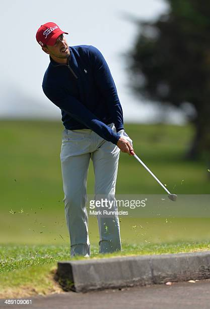 Joao Carlota of Portugal chipping at the 6th green during the Madeira Islands Open - Portugal - BPI at Club de Golf do Santo da Serra on May 10, 2014...