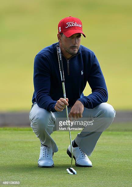 Joao Carlota of Portugal looks at the line of his putt on the 6th green during the Madeira Islands Open - Portugal - BPI at Club de Golf do Santo da...