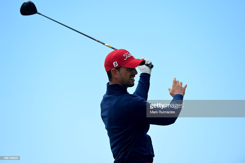 Joao Carlota of Portugal plays a poor tee shot at the 7th during the Madeira Islands Open - Portugal - BPI at Club de Golf do Santo da Serra on May 10, 2014 in Funchal, Madeira, Port gal.