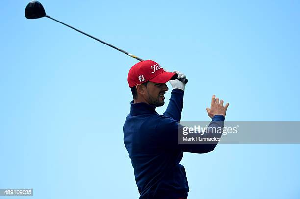 Joao Carlota of Portugal plays a poor tee shot at the 7th during the Madeira Islands Open - Portugal - BPI at Club de Golf do Santo da Serra on May...