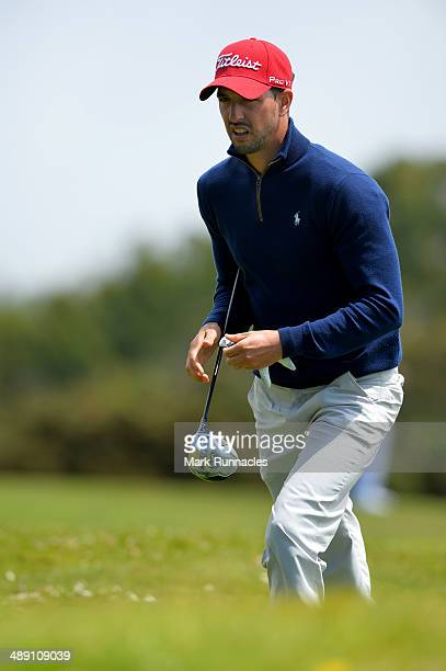 Joao Carlota of Portugal walks to the 7th tee during the Madeira Islands Open - Portugal - BPI at Club de Golf do Santo da Serra on May 10, 2014 in...
