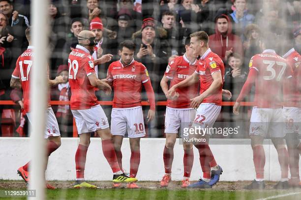 Joao Carvalho of Nottingham Forest celebrates after scoring a goal to make it 1-0 during the Sky Bet Championship match between Nottingham Forest and...
