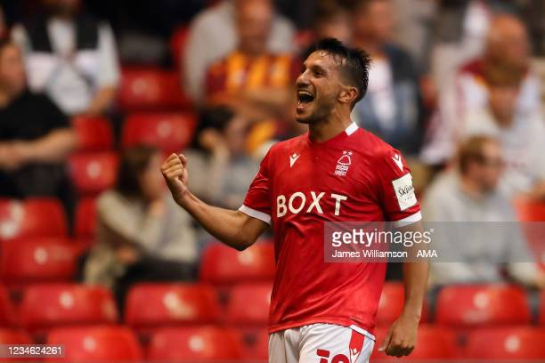 Joao Carvalho of Nottingham Forest celebrates after scoring a goal to make it 2-0 during the Carabao cup first round match between Nottingham Forest...