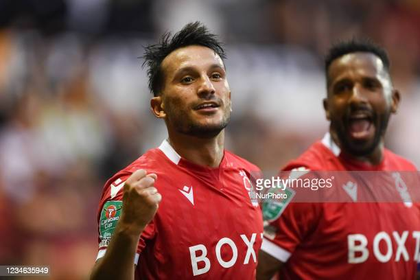 Joao Carvalho of Nottingham Forest celebrates after scoring a goal to make it 2-0 during the Carabao Cup match between Nottingham Forest and Bradford...