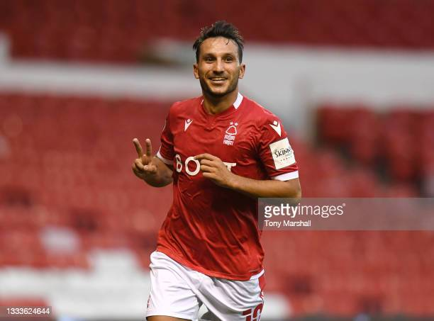 Joao Carvalho of Nottingham Forest celebrates scoring his second goal during the Carabao Cup First Round match between Nottingham Forest and Bradford...