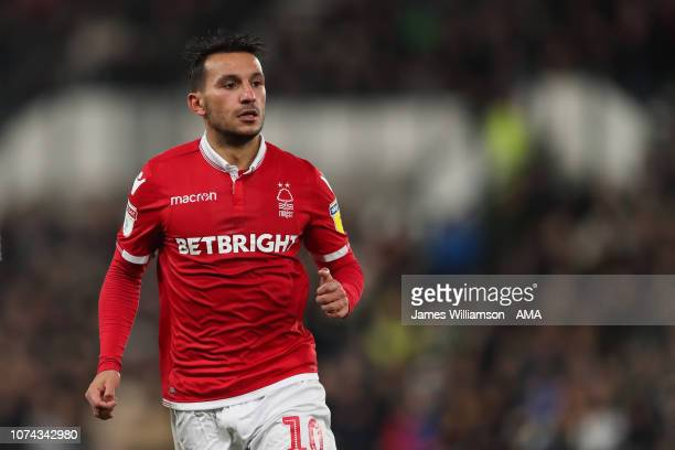 Joao Carvalho of Nottingham Forest during the Sky Bet Championship match between Derby County and Nottingham Forest at Pride Park Stadium on December...