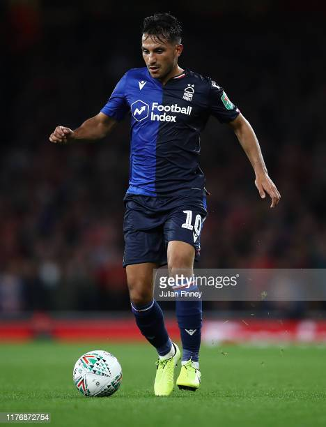 Joao Carvalho of Nottingham Forest in action during the Carabao Cup Third Round match between Arsenal and Nottingham Forest at Emirates Stadium on...