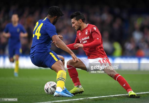 Joao Carvalho of Nottingham Forest is put under pressure by Reece James of Chelsea during the FA Cup Third Round match between Chelsea and Nottingham...