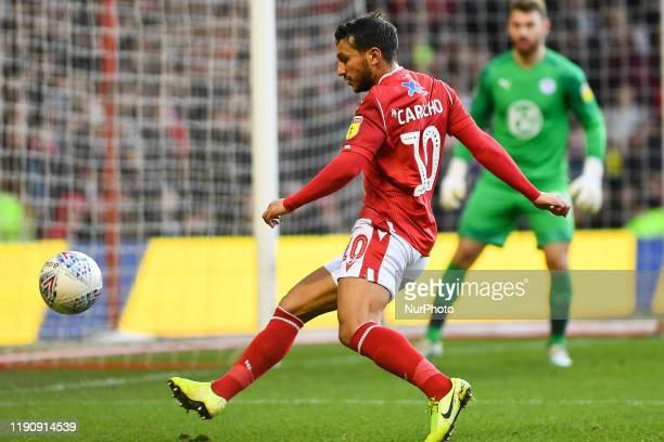 Joao Carvalho of Nottingham Forest keeps the ball in play during the Sky Bet Championship match between Nottingham Forest and Wigan Athletic at the...