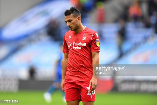 Joao Carvalho of Nottingham Forest looking dejected after the final whistle during the Sky Bet Championship match between Wigan Athletic and...