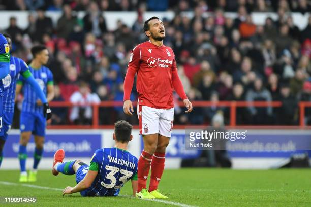 Joao Carvalho of Nottingham Forest reacts after a missed chance at goal during the Sky Bet Championship match between Nottingham Forest and Wigan...