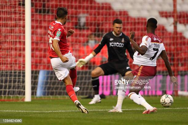 Joao Carvalho of Nottingham Forest scores a goal to make it 2-0 during the Carabao cup first round match between Nottingham Forest and Bradford City...