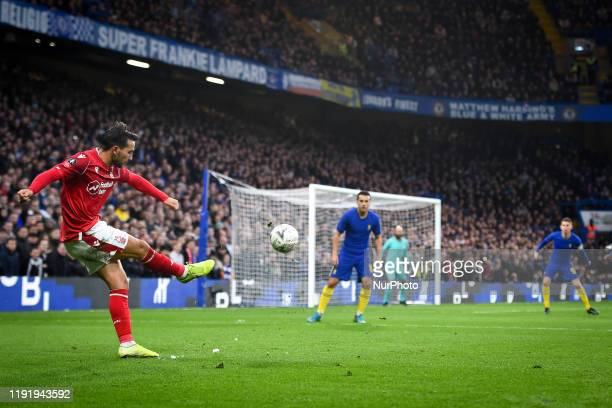 Joao Carvalho of Nottingham Forest takes a free-kick during the FA Cup match between Chelsea and Nottingham Forest at Stamford Bridge, London on...